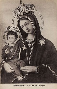 del Castagno The miraculous image of Our Lady of the Chestnut Tree in Montecompatri, Italy. Jesus Mother, Blessed Mother, Mother Mary, Religious Pictures, Religious Icons, Religious Art, Joseph, Twin Flame Love, Holy Mary