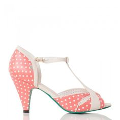 Red Kitten Heels with Polka Dot and Nude Strap Detail ❤ liked on Polyvore