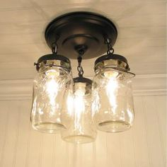 mason jar light. this would be kind of cute for the front door