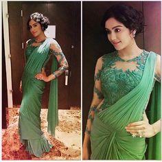 Adah Sharma In A Green Saree Gown
