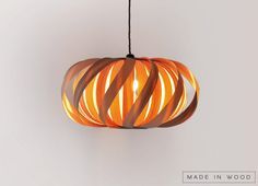 Pendant light Wood Lamp with ash Veneer twisted by MadeInWoodLv