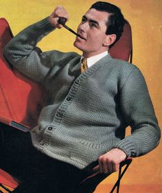Vintage Mens Casual Jacket Cardigan Knitting Pattern 38, 40, 42, 44 Chest Restored PDF. $1.90, via Etsy.