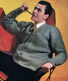 Vintage Mens Casual Jacket Cardigan Knitting Pattern 38, 40, 42, 44 Chest Restored PDF. $1.90, via Etsy.