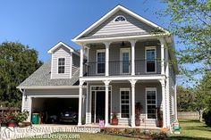 Plan 4 Bed Southern House Plan With Stacked Porches French Country House Plans, Southern House Plans, Southern Homes, Southern Charm, Duplex Floor Plans, Architectural Design House Plans, Beach House Plans, Apartment Plans, Two Story Homes