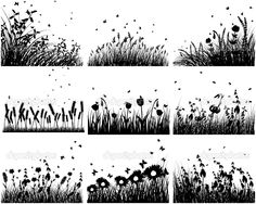 meadow silhouettes by angelp - Imagens vectoriais em stock