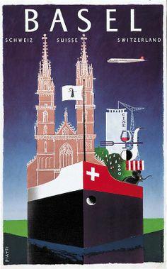 Celestino Piatti, Basel, 1957 Travel Ads, Airline Travel, Travel And Tourism, Vintage Travel Posters, Vintage Ads, Fürstentum Liechtenstein, Switzerland Tourism, Tourism Poster, Retro Poster