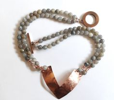 labradorite necklace semi precious stone necklace by tizianat