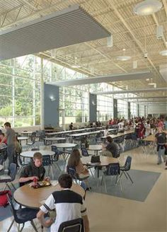 Dining Hall: Alpharetta High School, Designed by Perkins+Will #SchoolDesigner