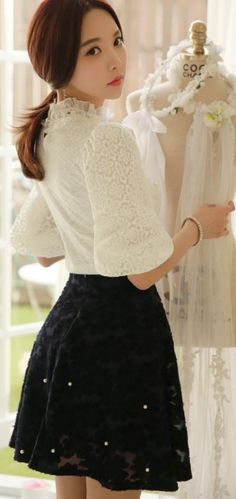 StyleOnMe_Floral Pearl Beading Flared Skirt