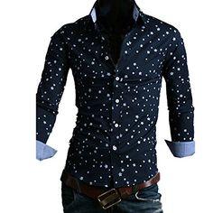 Cozy Age Men's Star Print Wrinkle Top Shirt Cozy Age