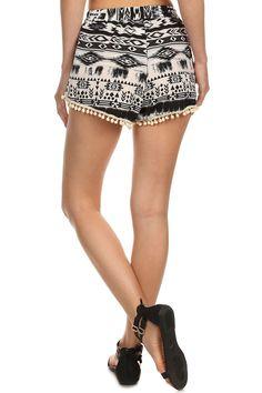 Summer Shorts with Pompoms, Dark Grey Aztec