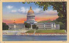 BK23.Vintage US Linen Postcard. West Virginia State Capitol. Kanawha River.W.Va