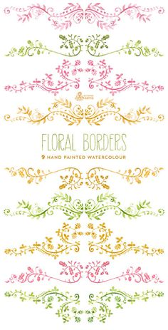 Floral Borders Watercolour. 9 Digital Clipart. por OctopusArtis