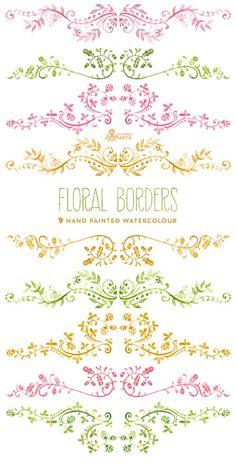 Floral Borders Watercolour. 9 Digital Clipart. por OctopusArtis