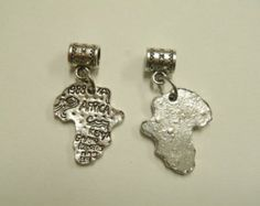 2 pc Africa Safari Dangle Silver Tone European Style Beads Spacer Charms for Bracelet Necklace Liquidation Lot T0072