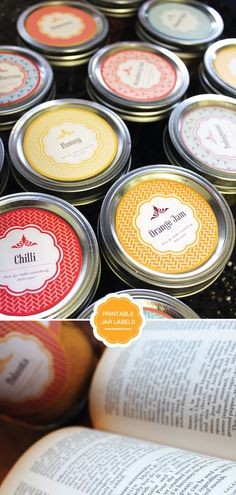 printable jar labels - jars of bath salts as part of game prizes? from Limeshot Design