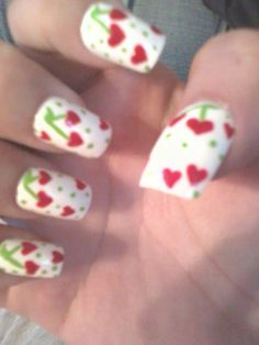 Cherry heart nails I did for my friend!