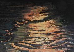 "Daily Paintworks - ""Golden Moonlight"" - Original Fine Art for Sale - © Ruth Mann"