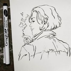 New girl . . . . #sketchbook #sketch #drawing #draw #illustration #ink #blackandwhite #inkwork #micron #girl #instaart #artwork #workinprogress #smoke