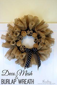 Shambray: Deco Mesh and Burlap Wreath