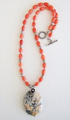 Snake River agate, coral, Thai silver handmade-beaded-g. Beaded Jewelry Patterns, Handmade Jewelry Designs, Handmade Necklaces, Handcrafted Jewelry, Diy Necklace, Necklace Designs, Gemstone Necklace, Jewelery, Jewelry Necklaces