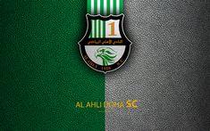 Download wallpapers Al Ahli Doha SC, 4k, Qatar football club, leather texture, Al Ahli logo, Qatar Stars League, Al Sad, Doha, Qatar, Premier League, Q-League