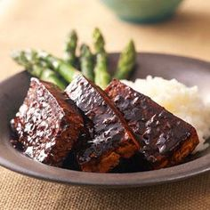 Marinated Tofu with Sticky Rice and Asparagus | MyRecipes.com This simple marinade has some amazing flavor.