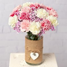 Send fresh flowers with free UK delivery. Browse our great selection of flowers for next day delivery. All flowers include our 7 day freshness guarantee, flower food and message card. Flowers By Post, All Flowers, Fresh Flowers, Blooms Florist, White Carnation, Pink Carnations, Flower Food, Flowers Delivered, Pink Bouquet