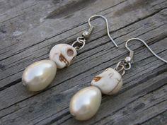 White Wedding Skulls and Ivory Pearl Earrings by SavannahVoodoo, $9.00