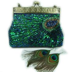 Peacock Feather Style Beaded Evening Clutch Bag Handbag Matching Earrings for sale online Vintage Purses, Vintage Bags, Vintage Handbags, Beaded Purses, Beaded Bags, Beaded Clutch, Clutch Purse, Coin Purse, Peacock Purse