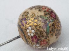 Antique meiji period spherical satsuma hat pin post 1870 first in a pair