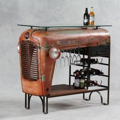 Tractor converted into a bar/wine holder