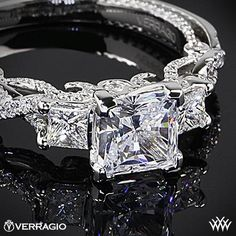 Verragio Beaded Braid Princess 3 Stone Engagement Ring from the Verragio Insignia Collection
