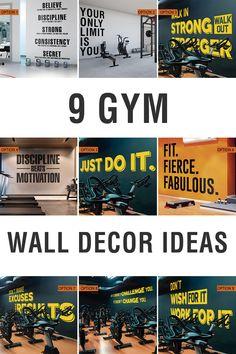 9 Gym Wall Decor Ideas - Wall Decals for Gym Decor Diy Home Gym, Gym Decor, Gym Design, Co Working, Wall Quotes, Just Do It, Wall Decals, Decor Ideas, Club