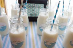Baby Shower Milk Bottles from  http://www.inspiredbythis.com
