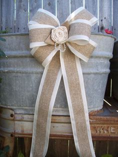Burlap and Satin Bows Burlap Wedding Aisle Decor by OneFunDay, $15.25 for the cards?