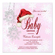 Santa Hat and Pink Snowflake Christmas Baby Shower Card