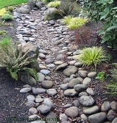 Dry creek bed, mulch, then yard edging Patios Landscaping Pinte - All For Garden Dry Riverbed Landscaping, Landscaping With Rocks, Front Yard Landscaping, Backyard Landscaping, Landscaping Ideas, Landscaping Software, Landscape Plans, Landscape Design, Garden Design
