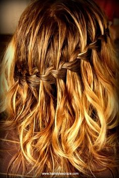 Sexy Waterfall Braid Hairstyle. For more braid hairstyle ideas and other cool hairstyles, check www.hairstylescraze.com.