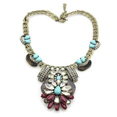 Statement Necklace, Metal Statement Necklace with Crystals.