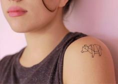 Amazing black bear origami shoulder tattoo