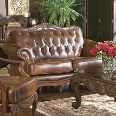 Victoria Button Tufted Loveseat in Brown | Nebraska Furniture Mart