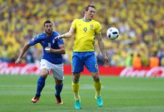 Graziano Pelle of Italy closes down Kim Kallstrom of Sweden during the UEFA EURO 2016 Group E match between Italy and Sweden at Stadium Municipal on June 17, 2016 in Toulouse, France.