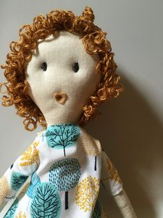 Coraline Curly Haired Cotton Rag Doll 18 Cloth Doll by FoxandSnail
