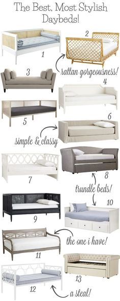 The Best, Most Stylish Daybeds! So many stylish twin daybed options! Love the ones with trundles (an extra spot for guests to sleep would be the best)! Lots of favorites here! Daybed Room, Diy Daybed, Daybed With Trundle, Daybed Ideas, Nursery Daybed, Girls Daybed, Farmhouse Bedroom Decor, Home Decor Bedroom, Bedroom Ideas