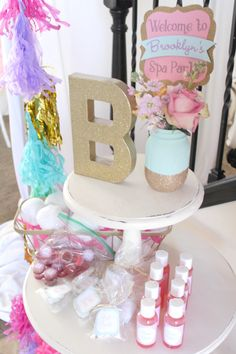 Spa Retreat Birthday Party Spa favors from a Glam Spa Retreat Birthday Party on Kara's Party Ideas Spa Party Foods, Kids Spa Party, Sleepover Birthday Parties, Pamper Party, Bachelorette Parties, Teen Parties, Engagement Party Decorations, Paris Party, Girl Birthday
