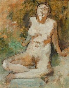 Nu assis les jambes croisées di Edgar Degas Nudo seduto con le gambe incrociate