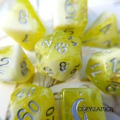 Lichen Dice Set, BRIGHT yellow green, perfect for forest characters #neon #dice #critters #lichen #colorful #bright #dnd #tabletoproleplaying
