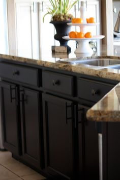 Kitchen Cabinets Java Color espresso cabinets and blue/grey wall paint. try java gel stain