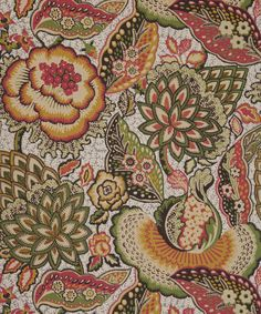 Patricia Anne Wallpaper An exquisite wallpaper with a detailed pattern of Oriental flowers reminiscent of Chinoiserie 'Tree of Life' style designs, shown in sage, mustard yellow and china pink (fabrics and papers) Etnic Pattern, Pattern Design, Embroidery Patterns, Print Patterns, Oriental Flowers, Liberty Art Fabrics, Textiles, Fantasy Paintings, Pink Fabric